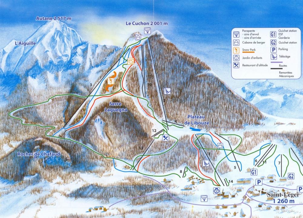 Carte pistes saint l ger m lezes hautes alpes - Office du tourisme st leger les melezes ...