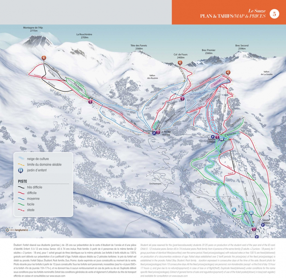 pistes de ski sauze super sauze